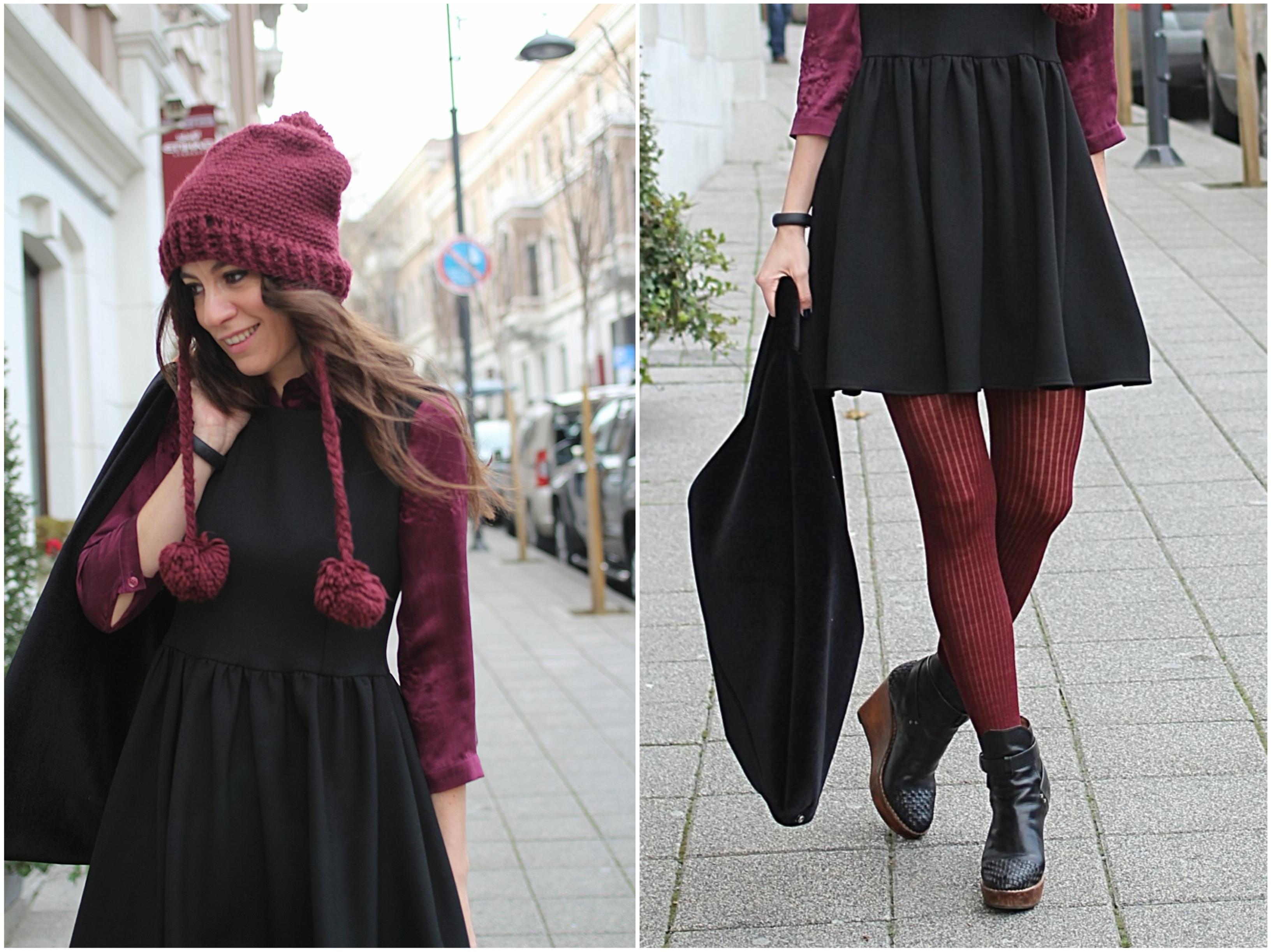 little black dress, burgundy, offnegiysem, streetstyle, outfit, blogger,