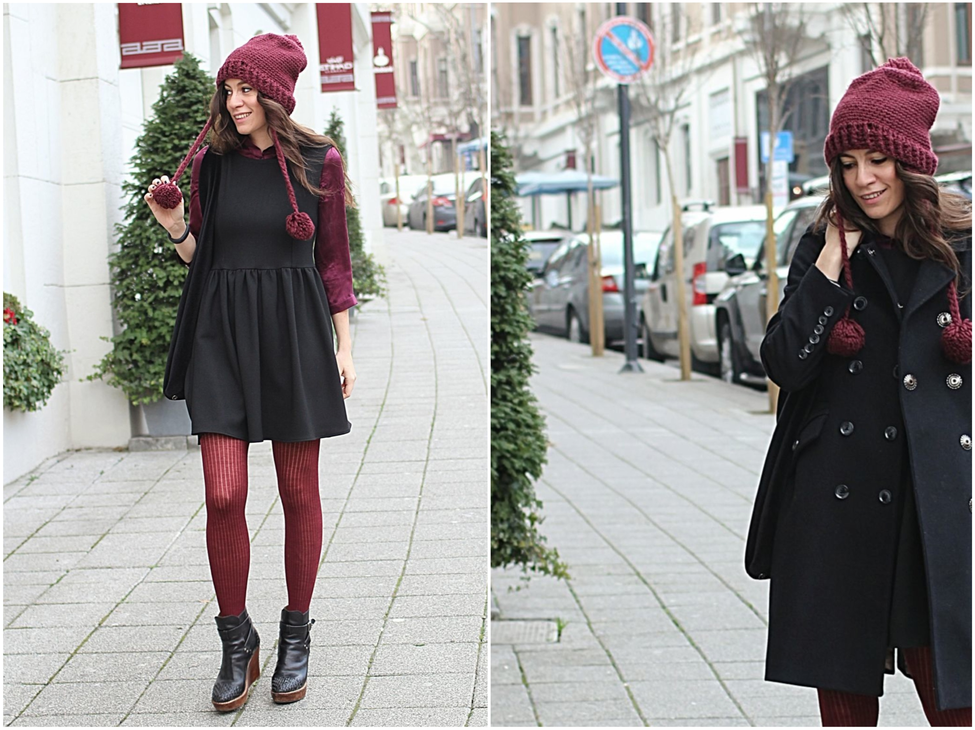 little black dress, burgundy, offnegiysem, streetstyle, outfit, blogger,