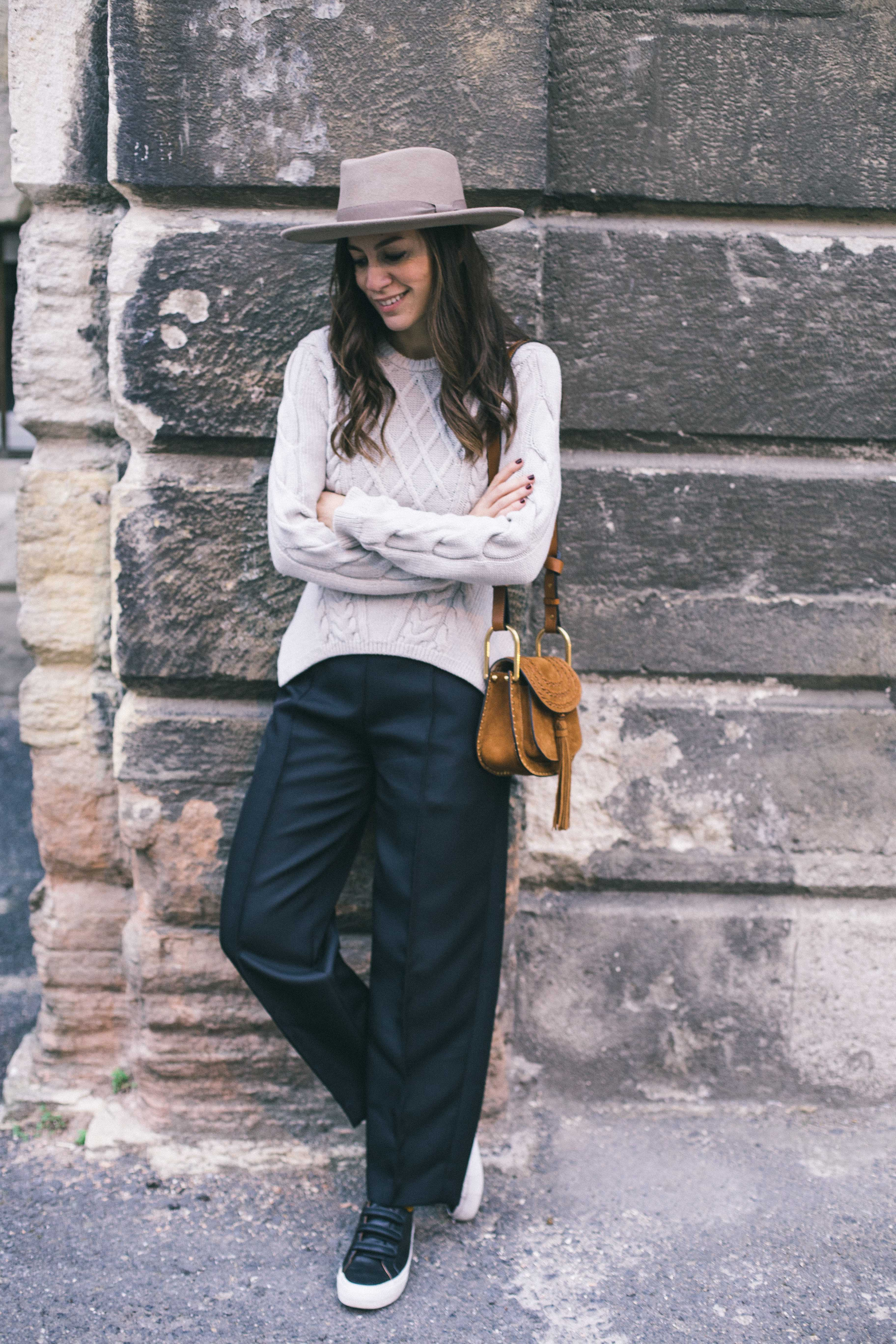 billur saatci, offnegiysem, turkish style blogger, street style, fashion, ootd, blogger, istanbul, carven, knitwear, vintage hat, kiliwatch, acne, no name shoes, chloe bag, hudson bag,