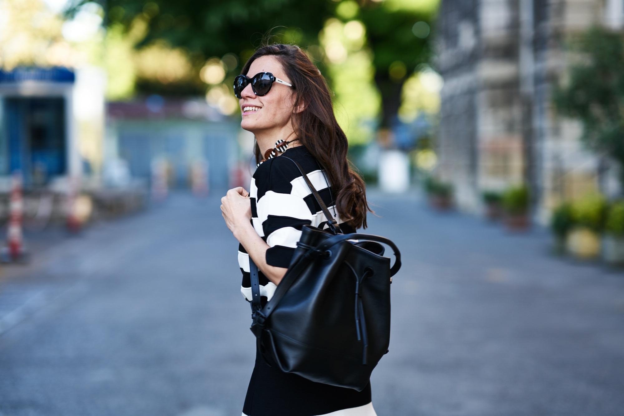 billur saatci, offnegiysem, street style, turkish style blogger, bw, stripes, black and white, opening ceremony, phillip lim, miu miu, house of camellia, black pepper, boyner, boyner fresh